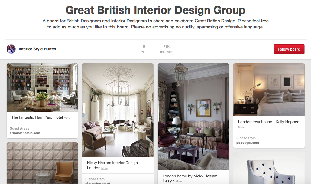Join the great british interior design pinterest group for British interior design