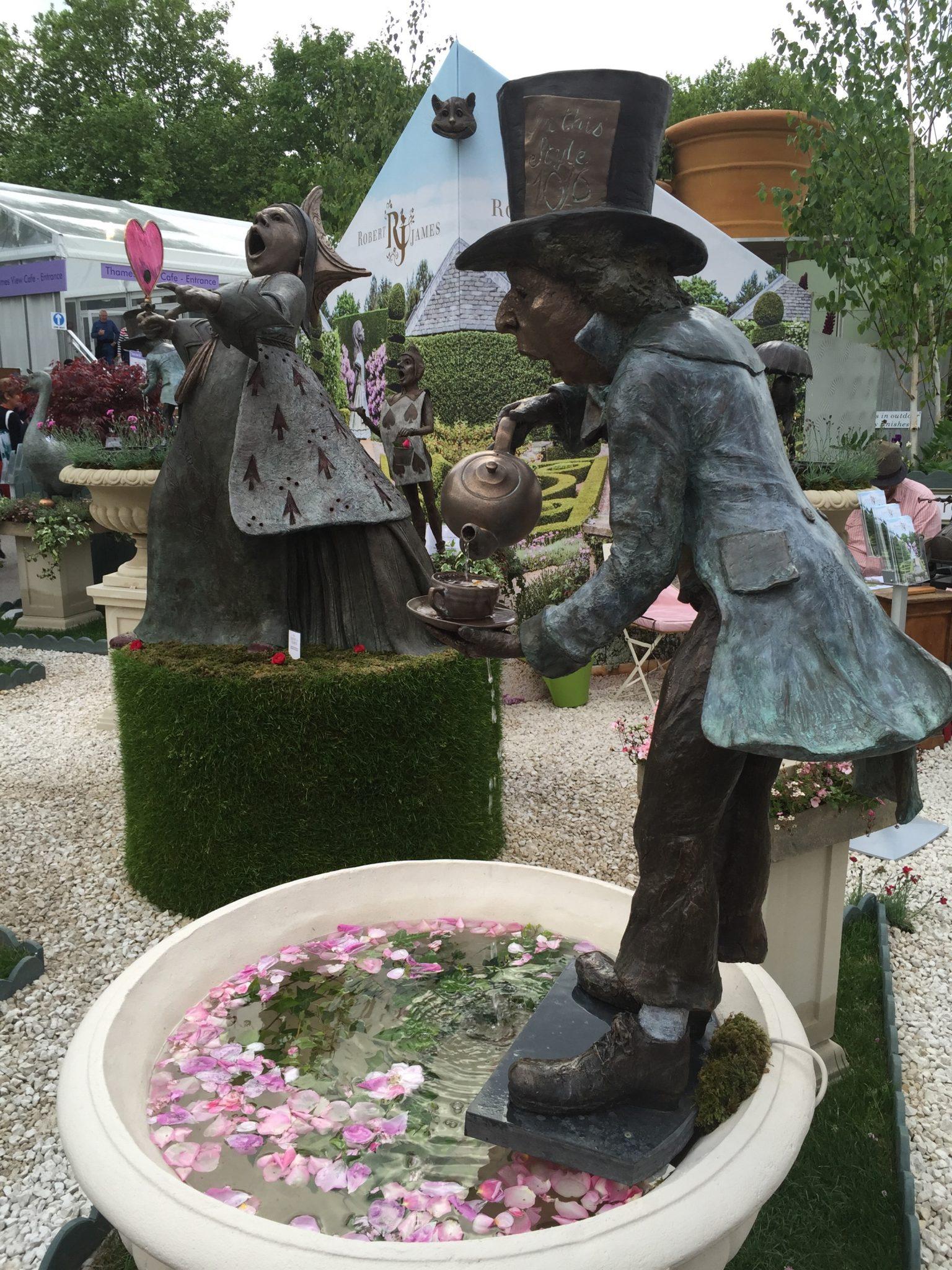 Robert James Alice in Wonderland Mad Hatter sculpture Chelsea Flower show