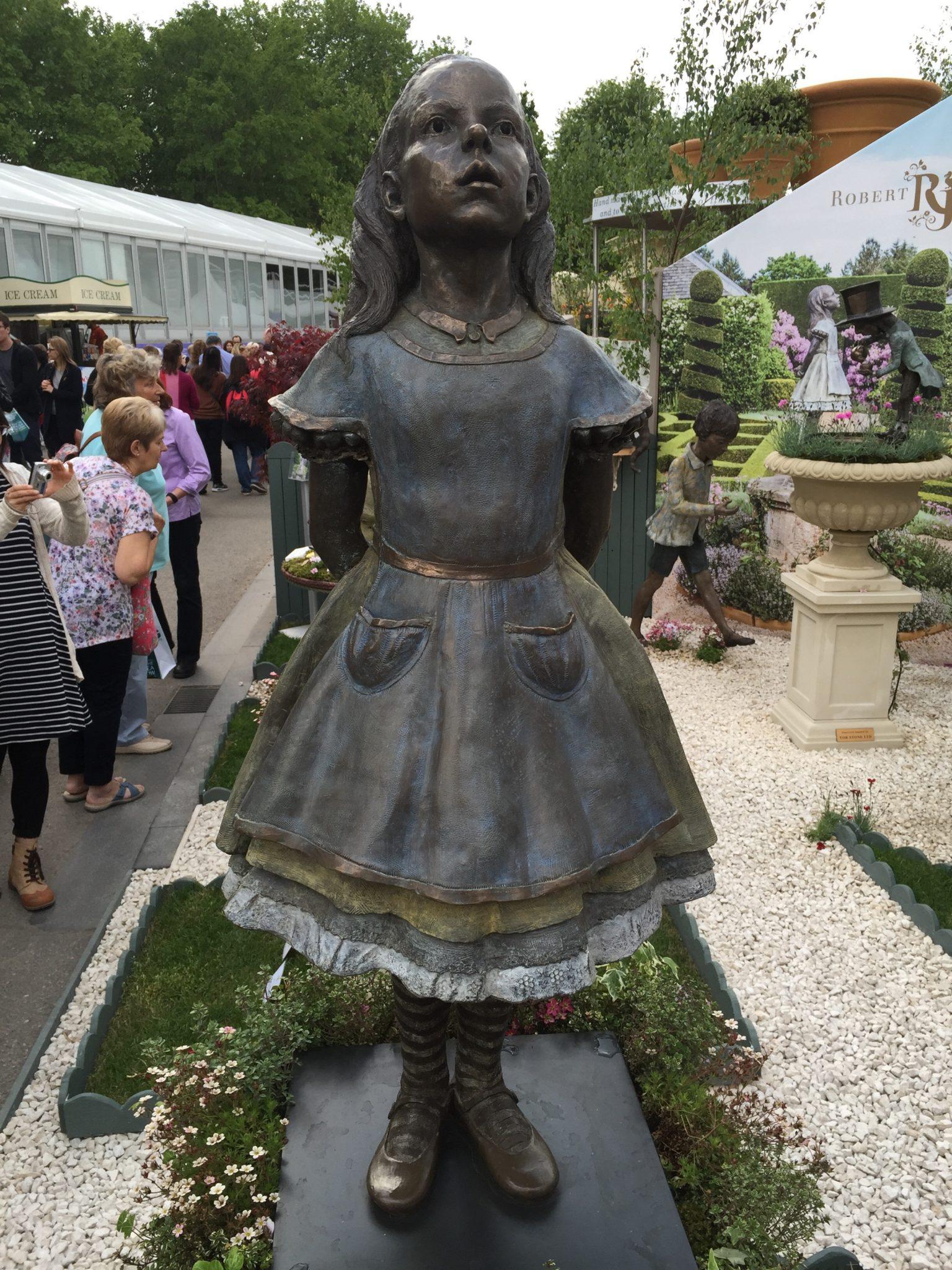 Alice in Wonderland sculpture Chelsea Flower show Robert James