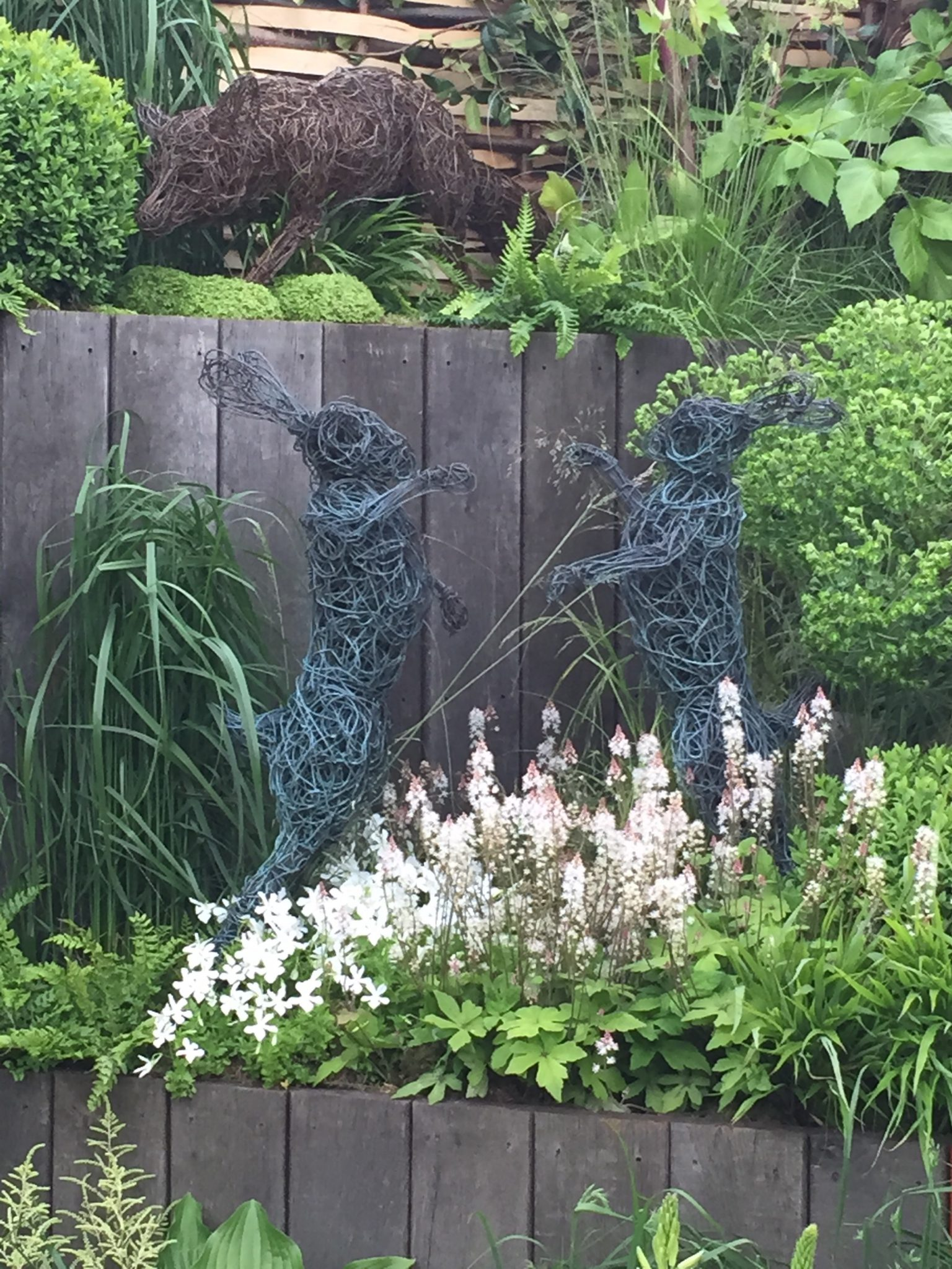 Wire Fox and Hare Sculpture Chelsea Flower Show
