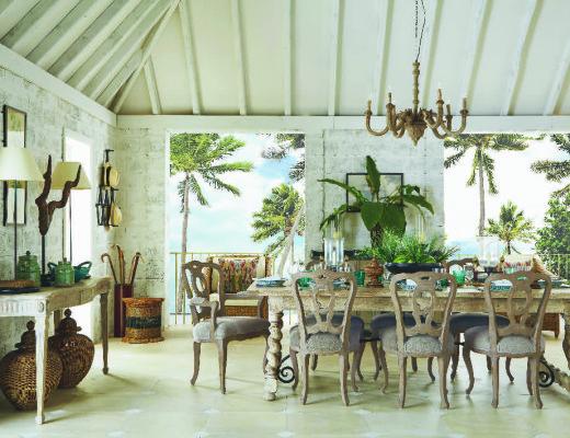 OKA Oscar de la Renta tropical beach house dining room